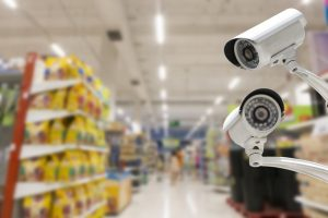 commercial security system in a grocery store